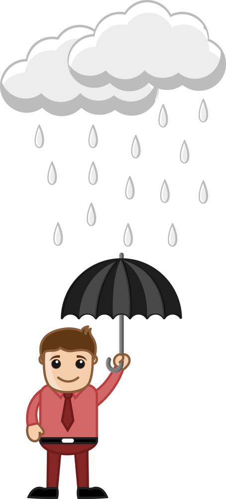 Man Holding An Umbrella In Rain