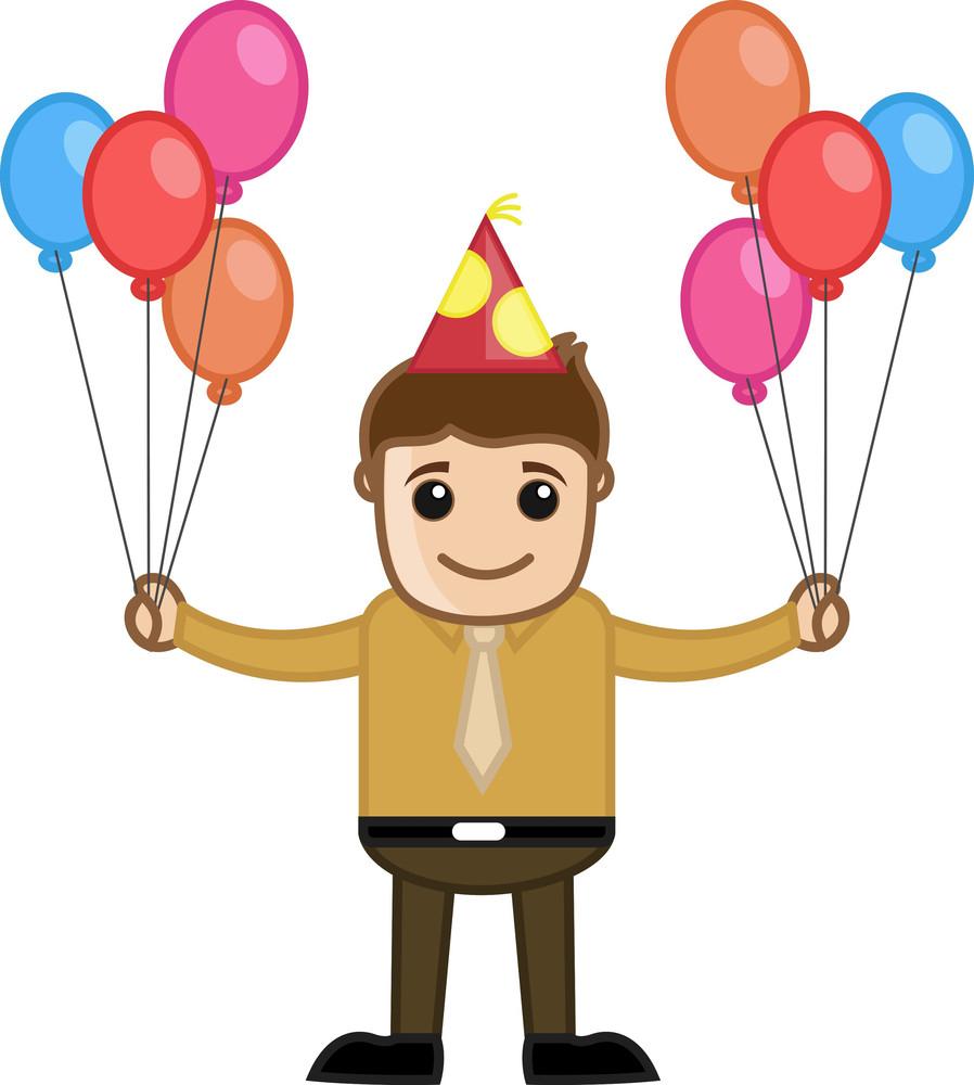 Man Holding Balloons - Cartoon Business Character