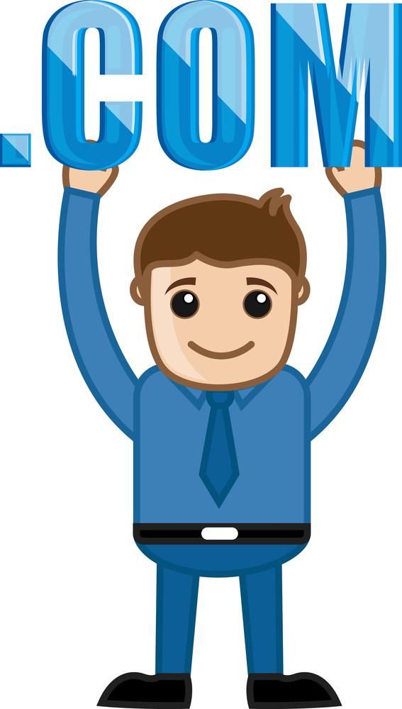 Man Holding Dot Com Text - Cartoon Vector