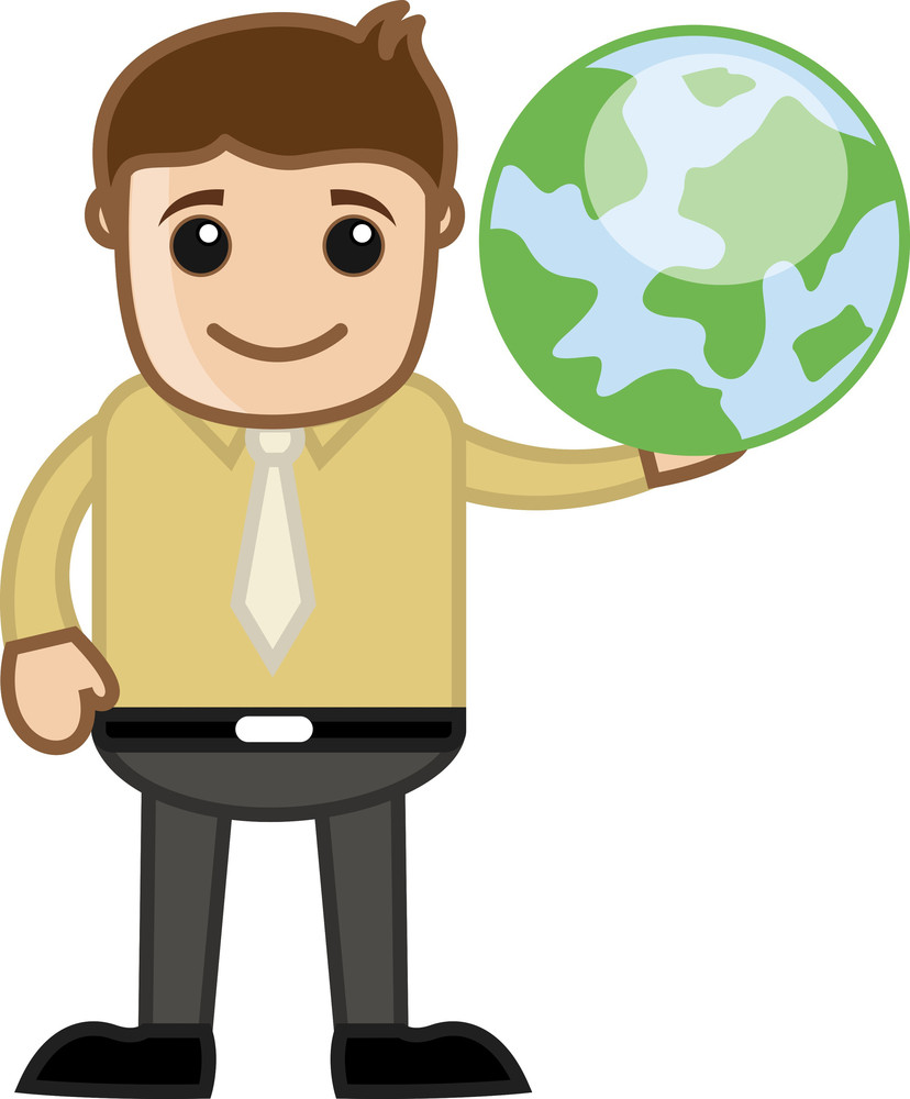 Man Holding Earth - Travel And World Tour Concept - Business Cartoon