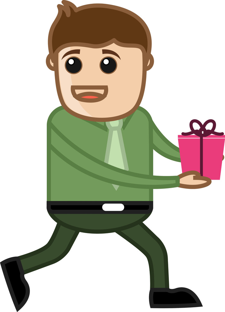 Man Holding Gift - Cartoon Business Character