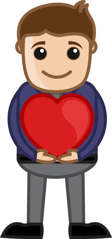 Man Holding Heart Vector