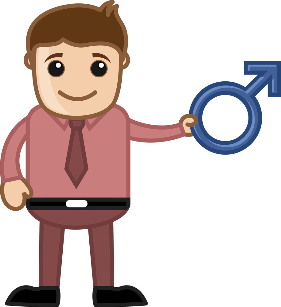 man holding male sex symbol - vector character cartoon illustration