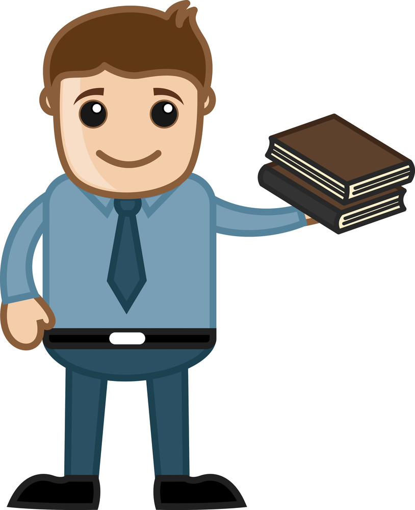 Man Holding Two Books - Business Cartoons Vectors
