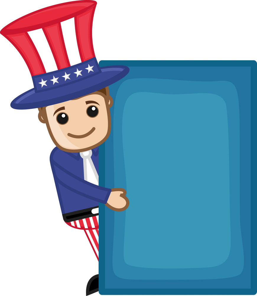 Man In Uncle Sam Costume - Business Cartoon Characters