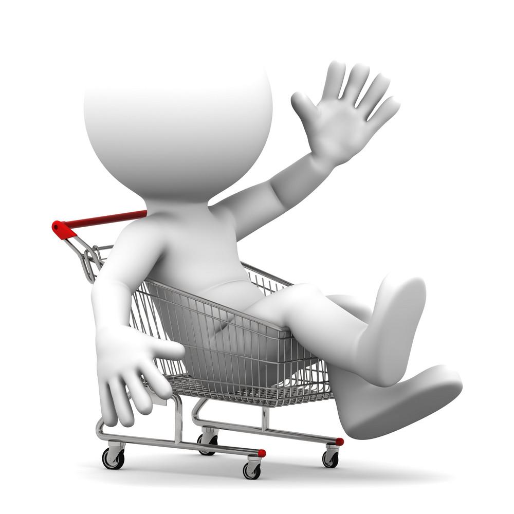 Man Inside Shopping Cart.
