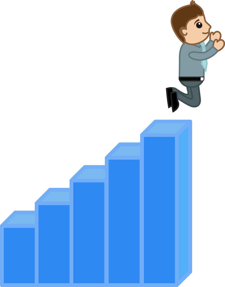 Man Jumped Over The Stats Bar - Profit And Success Concept Vector