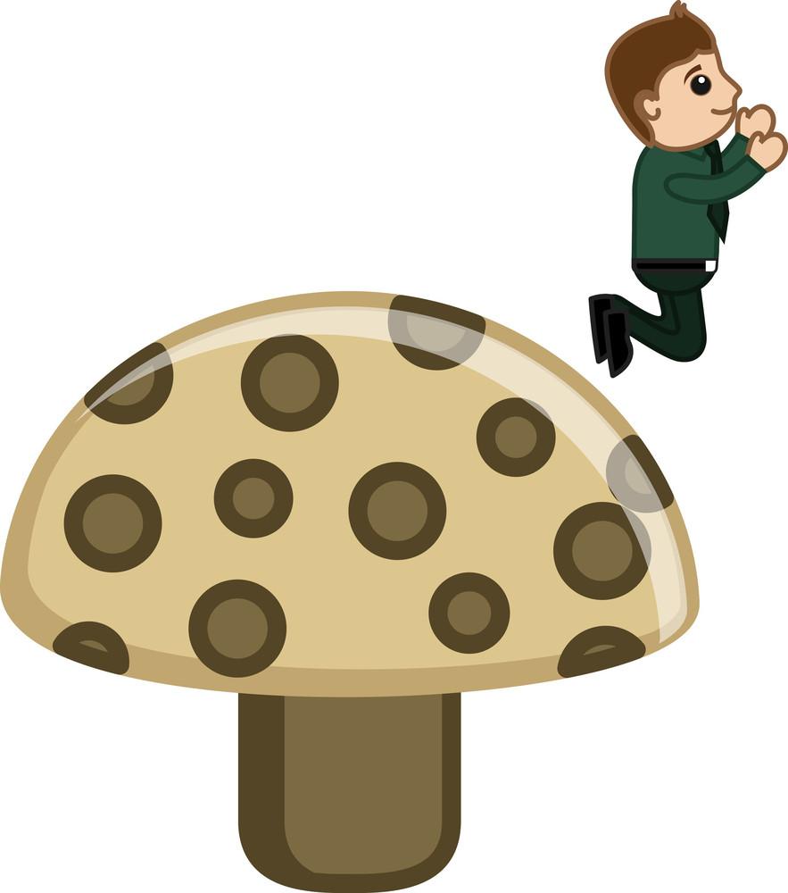 Man Jumping - Bad Food Concept - Cartoon Business Vector Character
