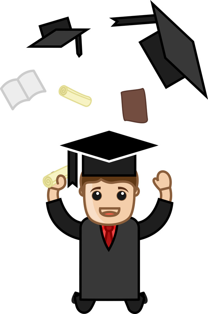Man Jumping In Graduation Day Dress - Cartoon Office Vector Illustration