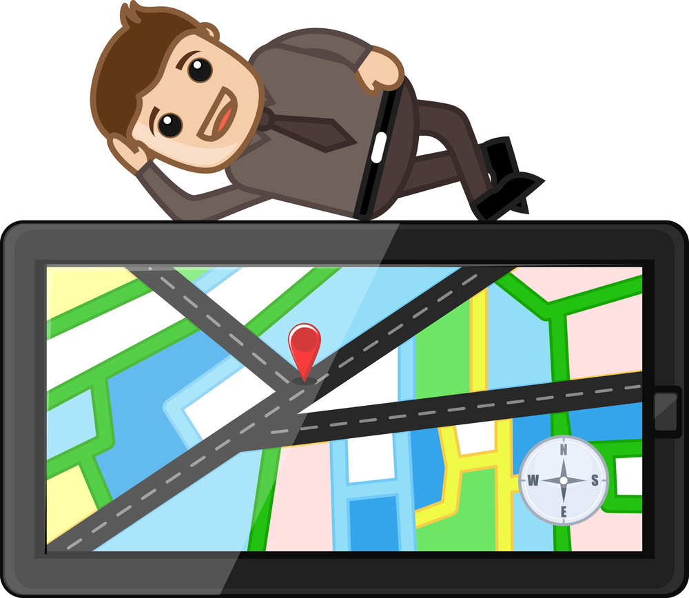 Man Laying On Gps Map Navigation Device - Cartoon Vector