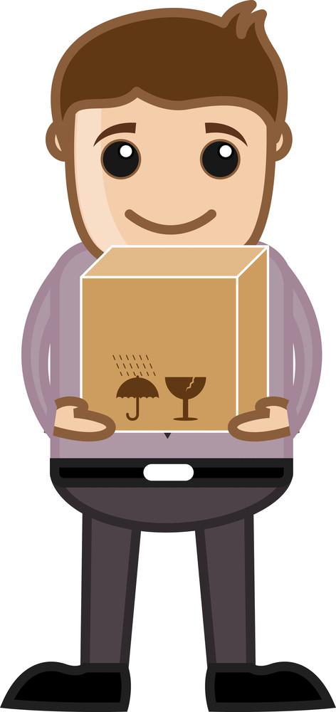 Man Lifting A Box - Business Cartoon