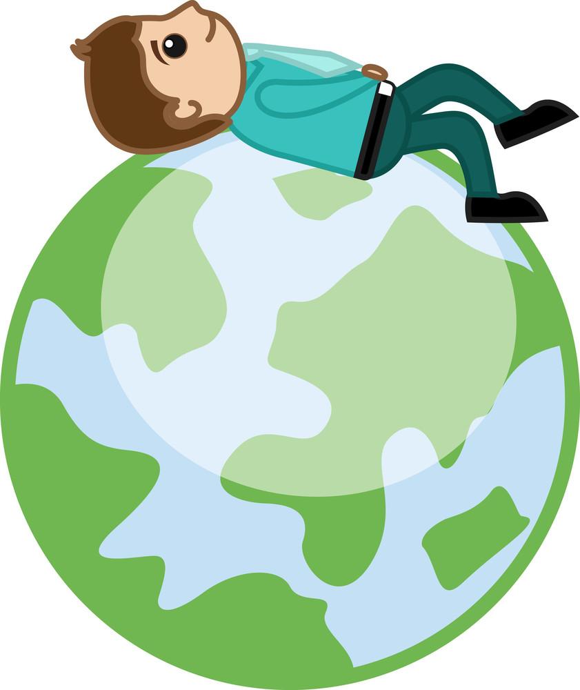 Man Lying On Earth - Cartoon Business Character