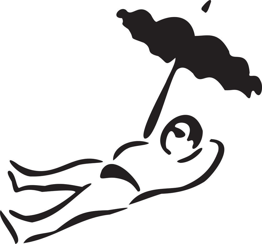 Man Lying Under A Umbrella.