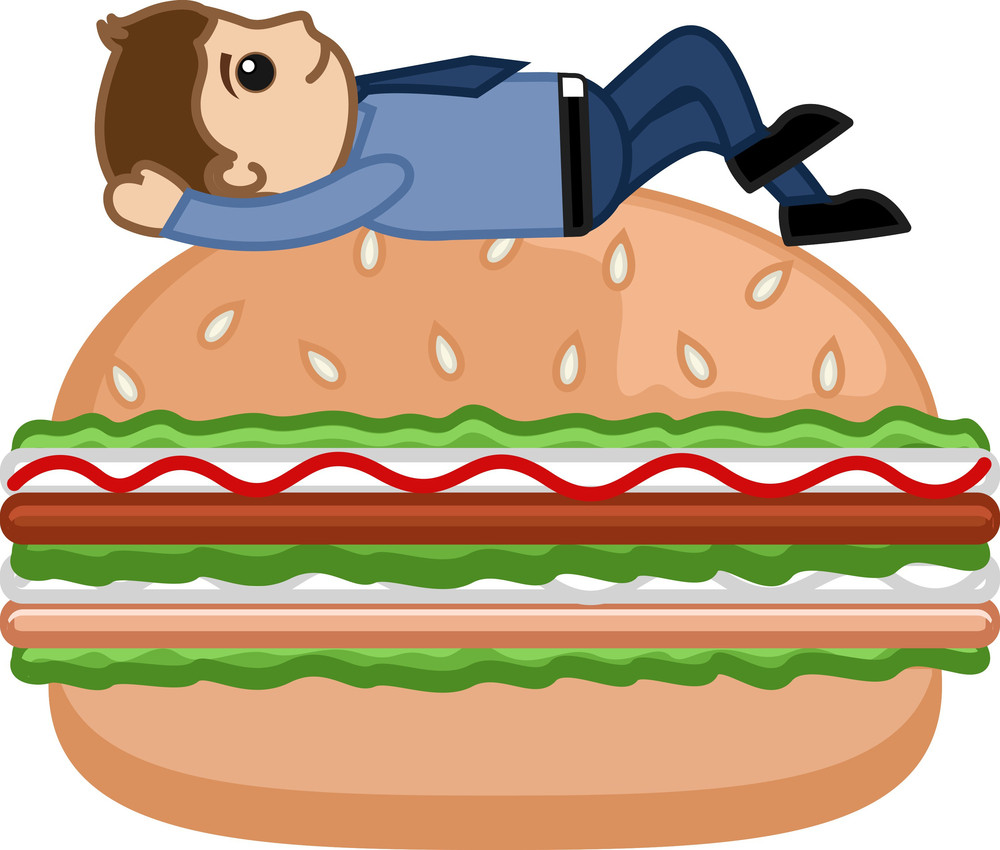 Man On Burger - Cartoon Business Vector Character