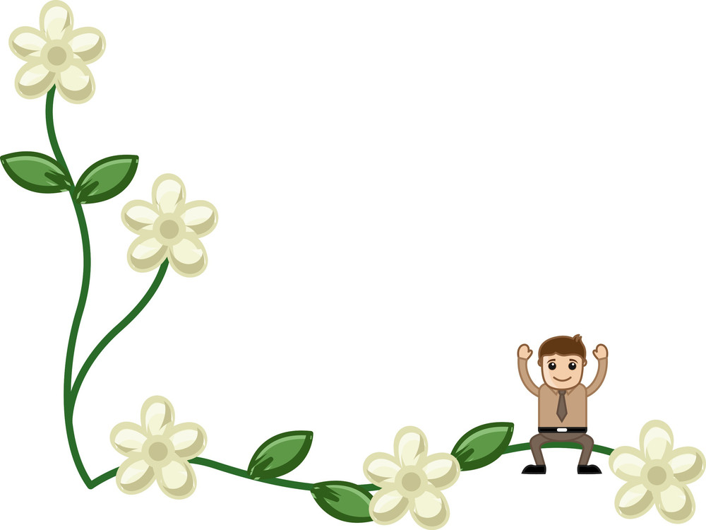 Man On Flora With Blank Space