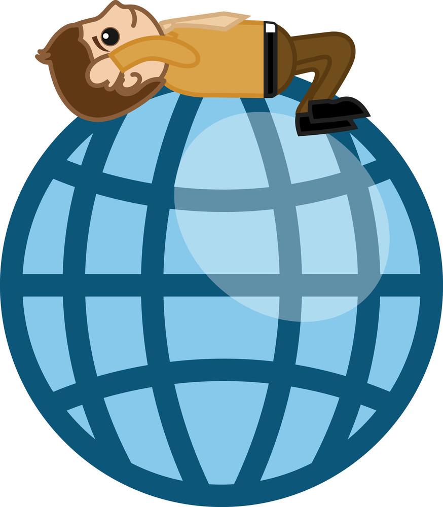 Man On Globe - Cartoon Business Character