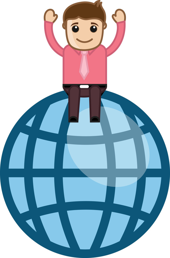 Man On Globe - Vector Illustration