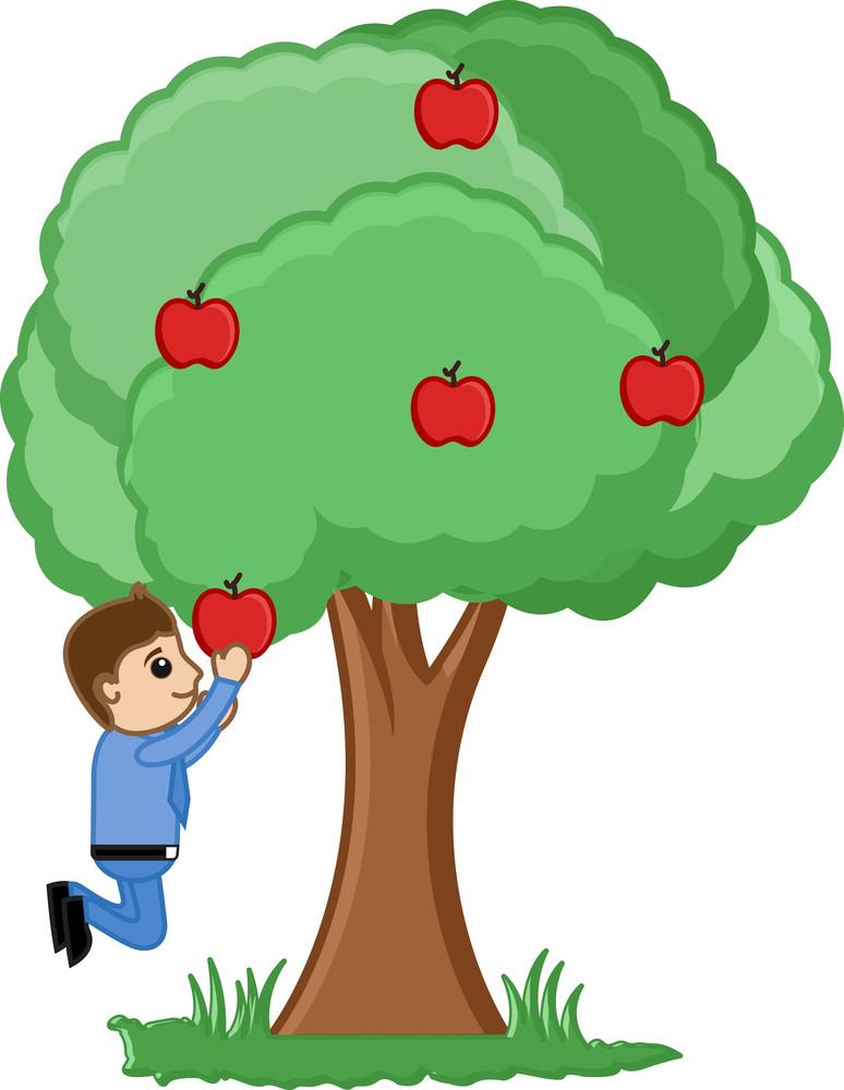 Man Plucking An Apple