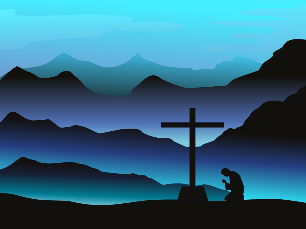 Man Praying With Background