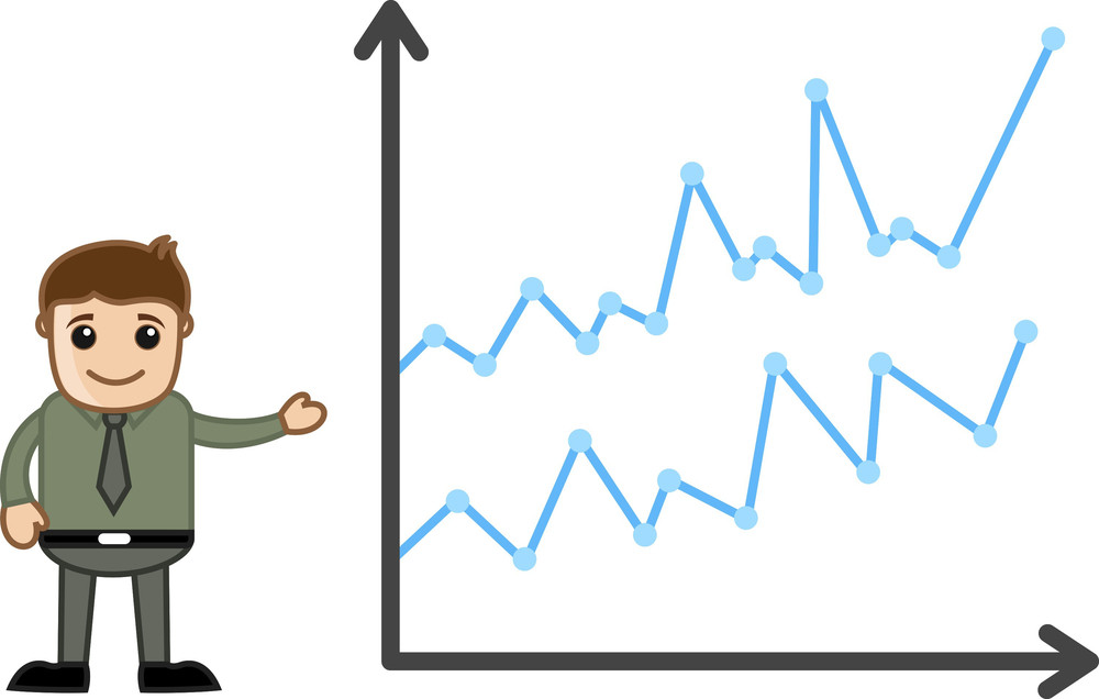 Man Presenting Graph - Business Cartoon Character Vector