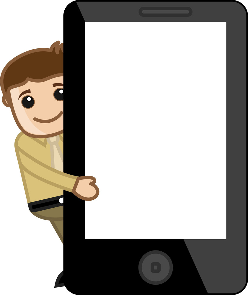 Man Presenting Slideshow On Phone Tablet Mobile Device - Business Cartoon