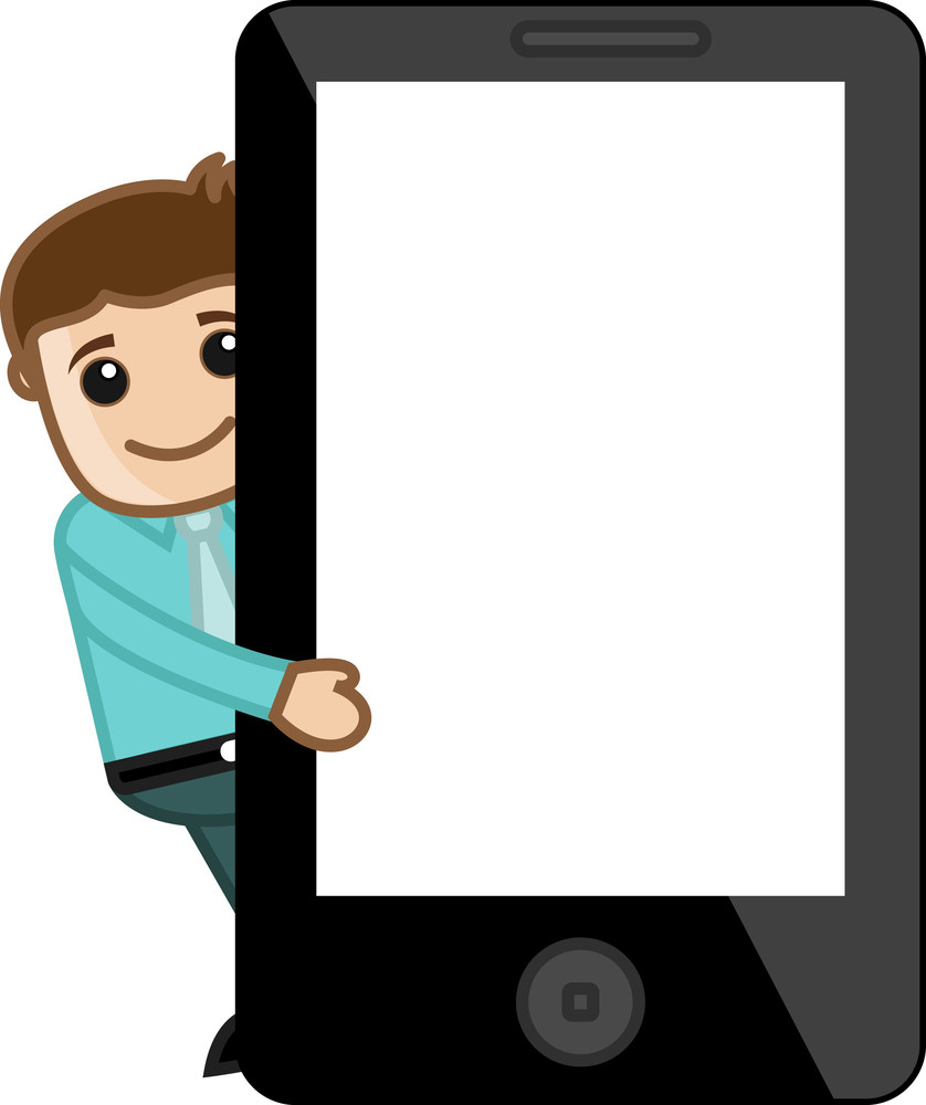 Man Presenting Tabley - Smartphone -  Vector Illustration