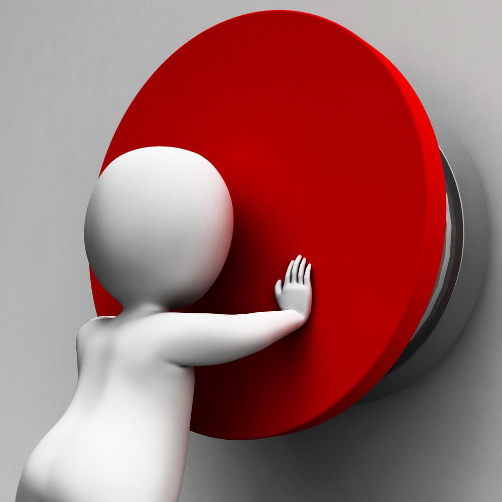 Man Pushing Button Showing Controlling