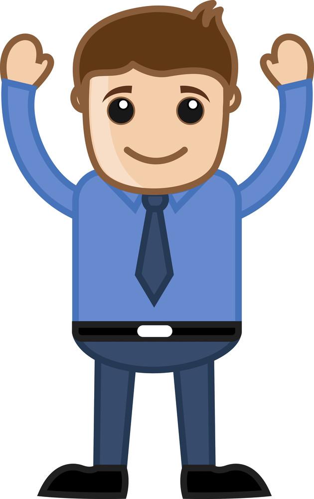 Man Raising Both Hands - Office Corporate Cartoon People