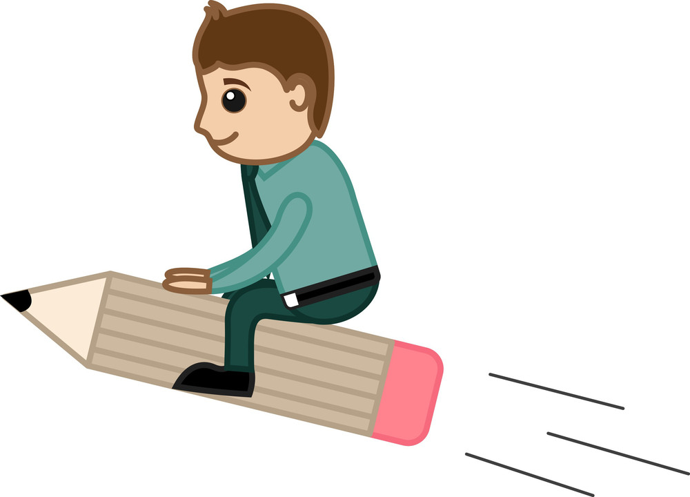 Man Riding On Pencil - Creative Office Character Vectors