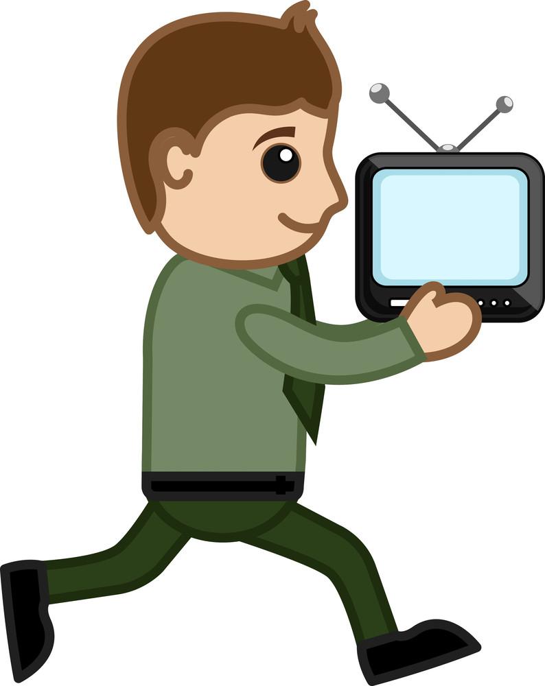 Man Running Having Tv In His Hands - Vector Illustration