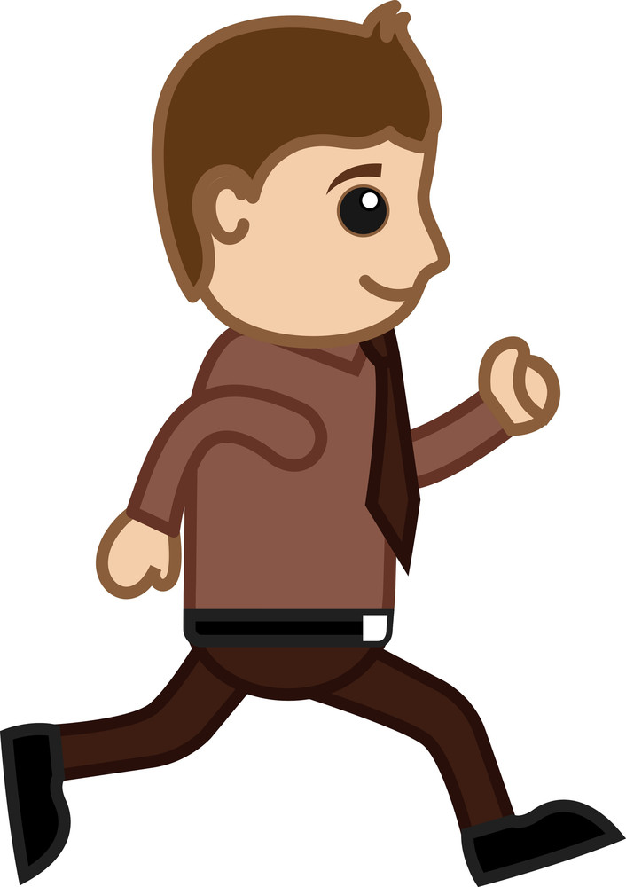 Man Running In Office - Office Corporate Cartoon People