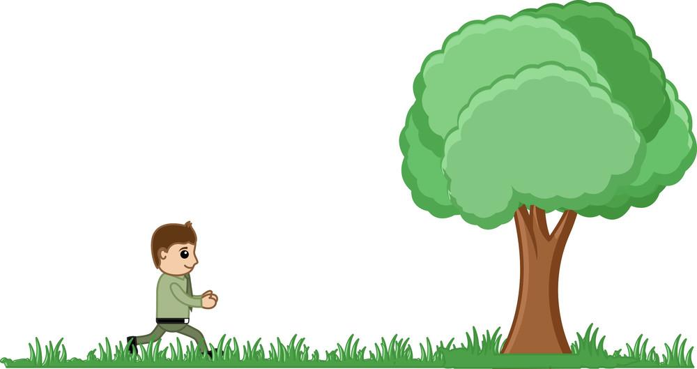 Man Running To A Tree Vector Illustration