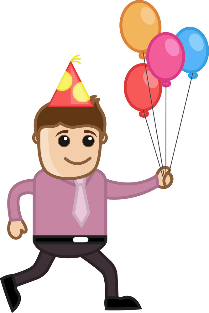 Man Running With Balloons - Cartoon Business Character