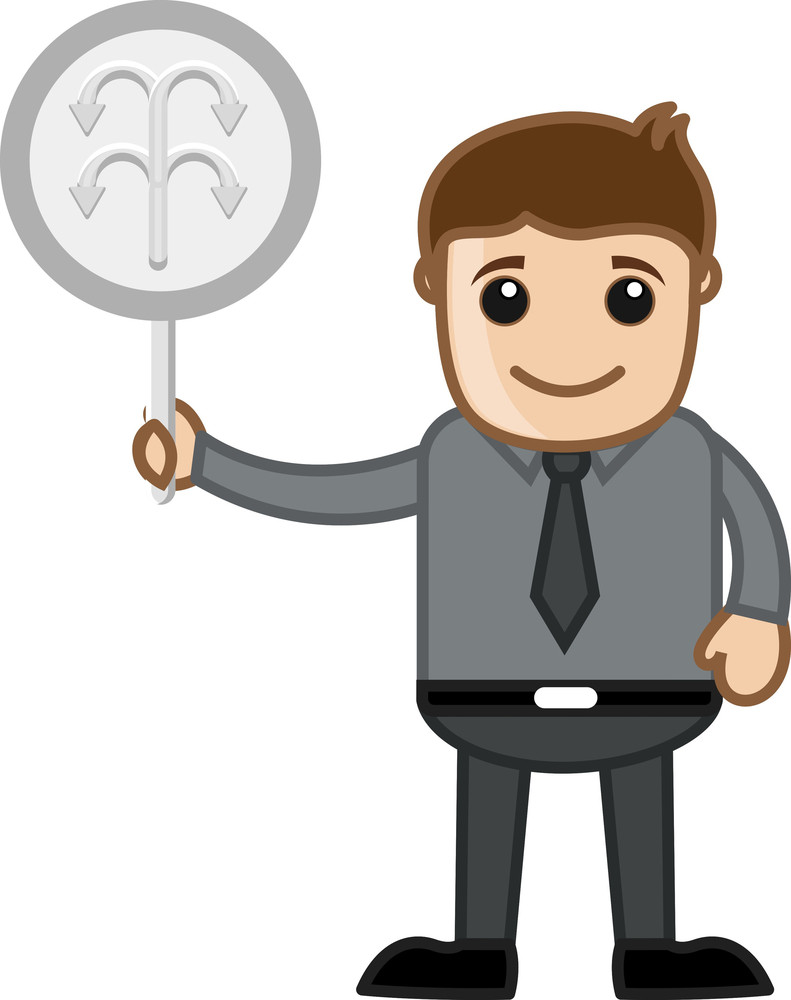 Man Showing Arrows Sign