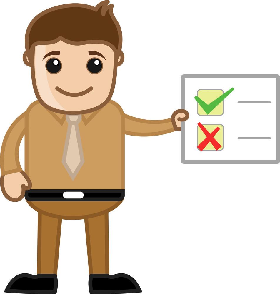 Man Showing Checklist - Business Cartoon Character Vector