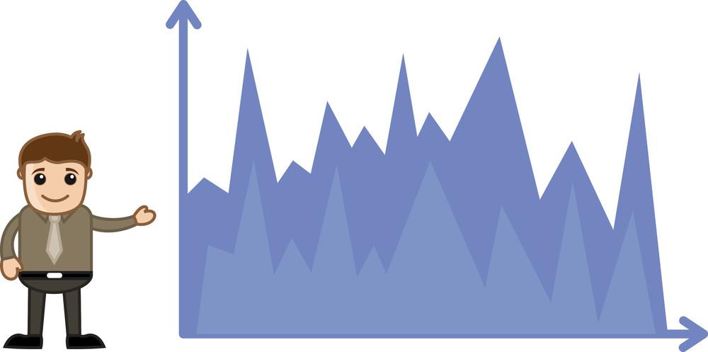 Man Showing Finance Graph - Business Cartoon Character Vector