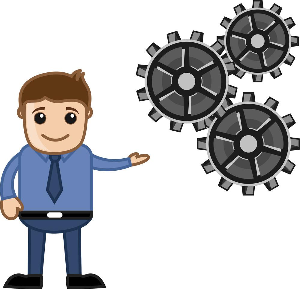 Man Showing Gears - Process Concept - Business Cartoons Vectors
