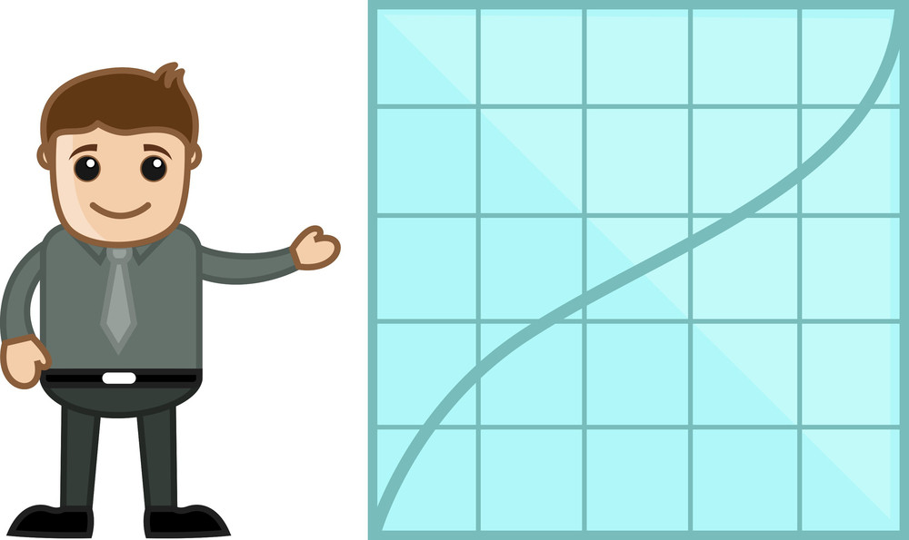 Man Showing Increasing Graph Line - Business Cartoon Character Vector