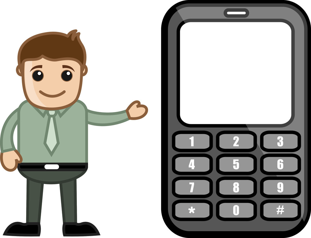 Man Showing Mobile Phone - Vector Illustration
