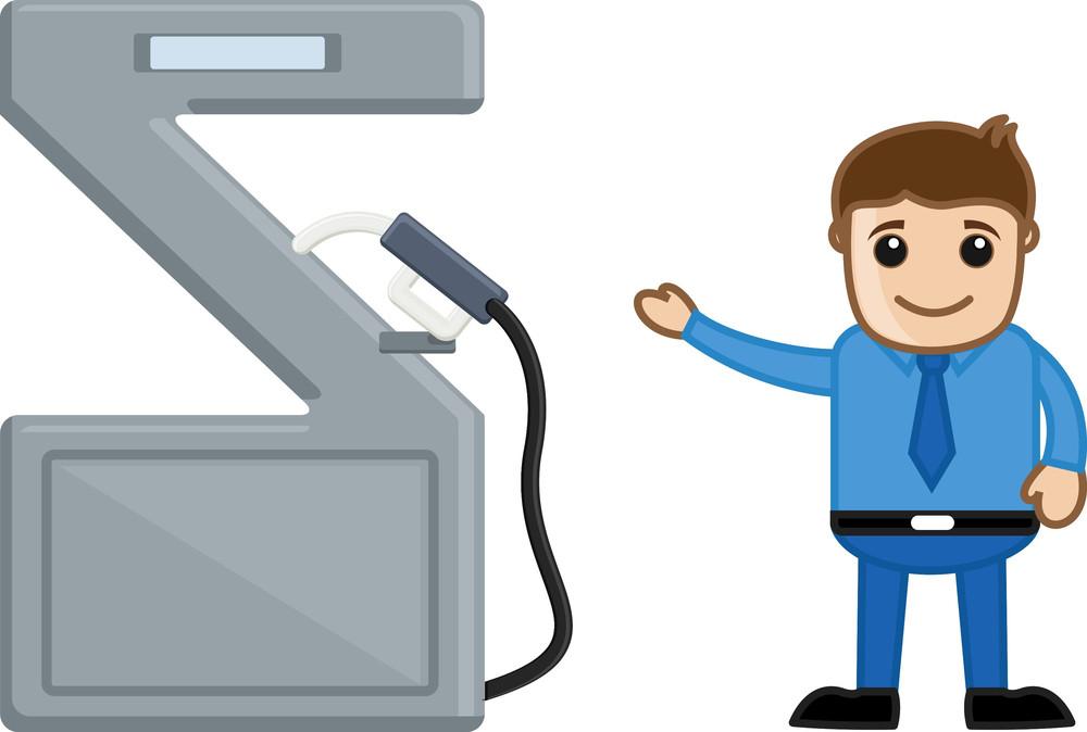 Man Showing Petrol Pump - Vector Character Cartoon Illustration