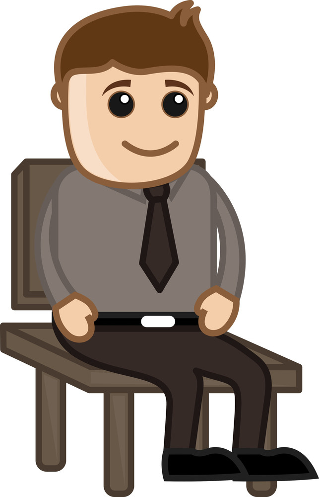 Man Sitting On A Chair - Office Corporate Cartoon People