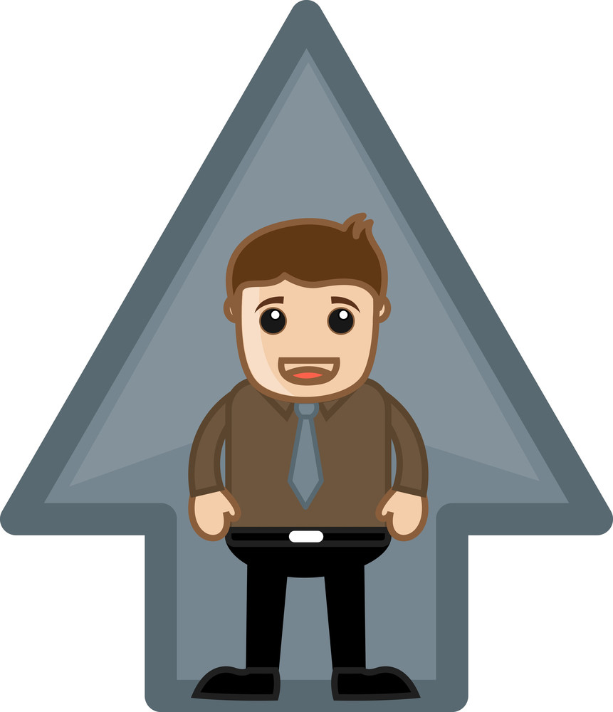 Man Standing In Arrow - Vector Character Illustration