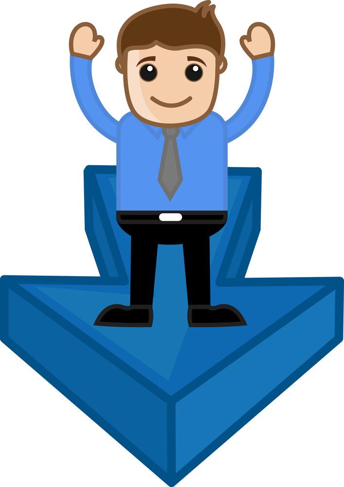 Man Standing On Arrow - Vector Character Illustration