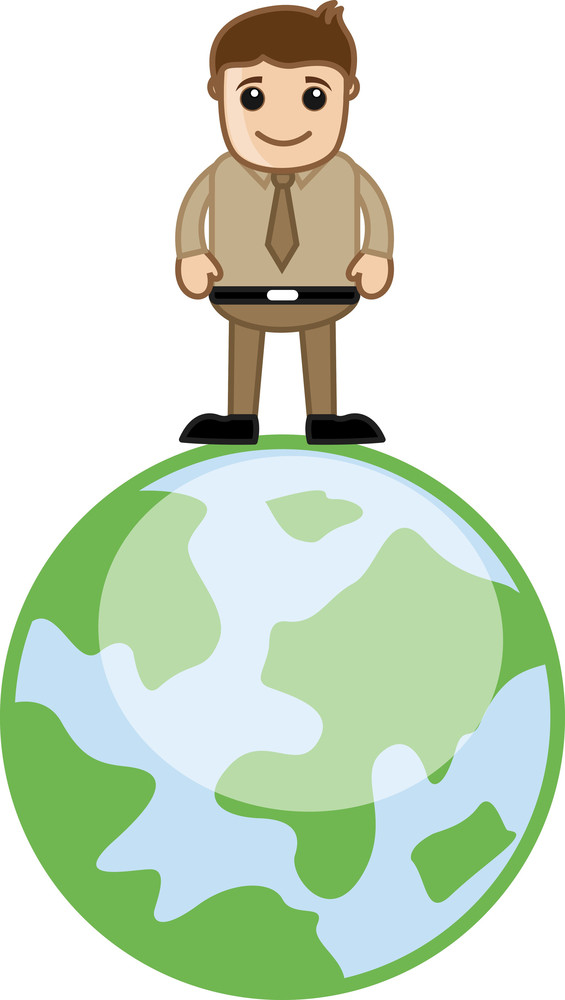 Man Standing On Earth Travel Whole World Concept