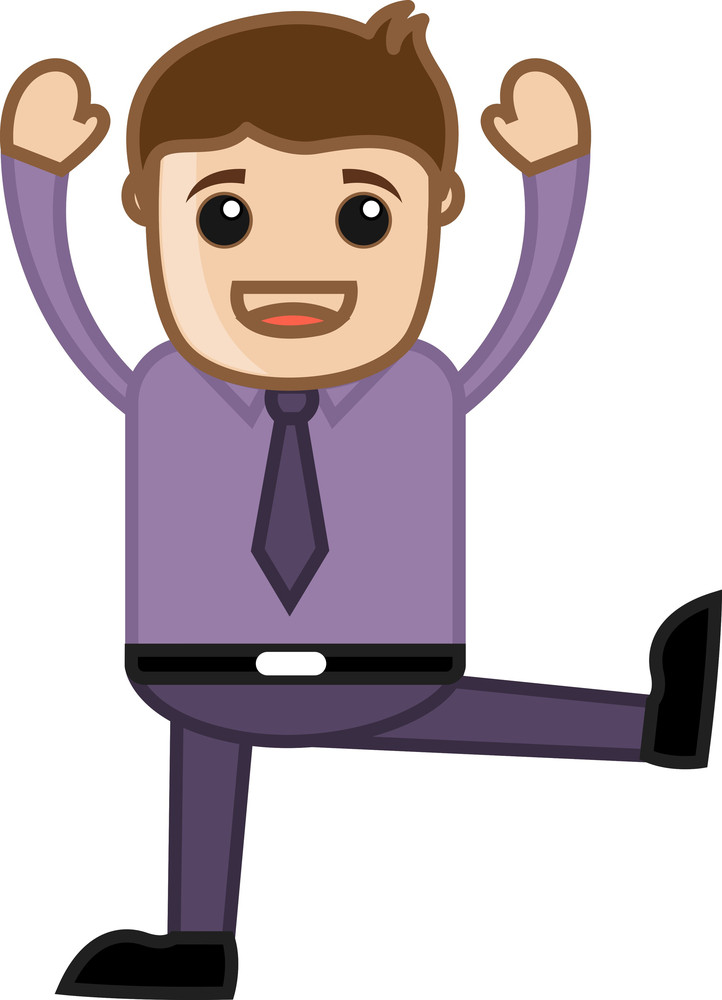 Man Standing On One Leg - Business Cartoon Character Vector