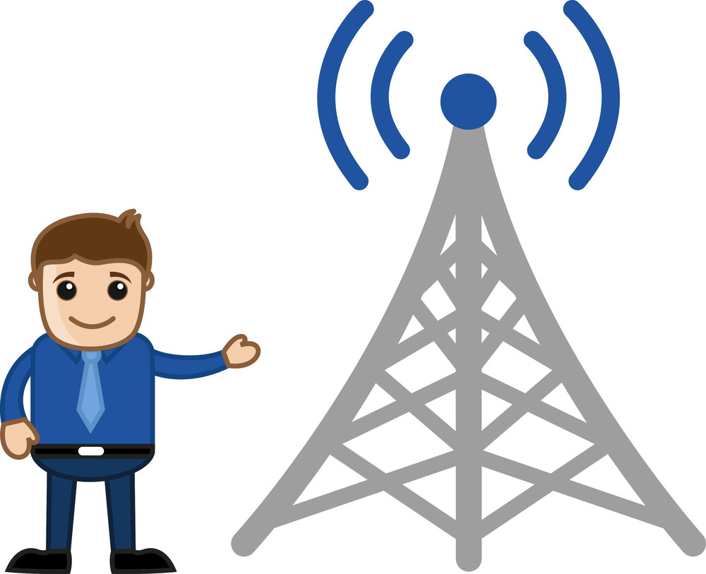 Man Standing With Mobile Wireless Tower - Business Cartoon
