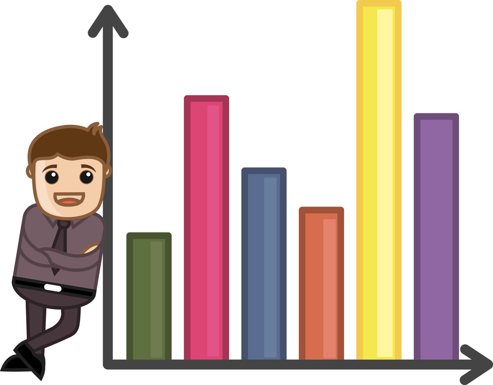 Man Standing With Retro Graph - Business Cartoon Character Vector