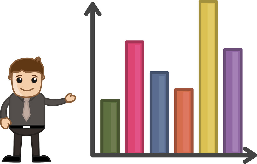 Man Standing With Statistic Chart - Business Cartoon Character Vector