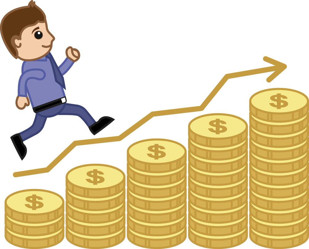 Man Stepping On Graph - Business Cartoon Vectors