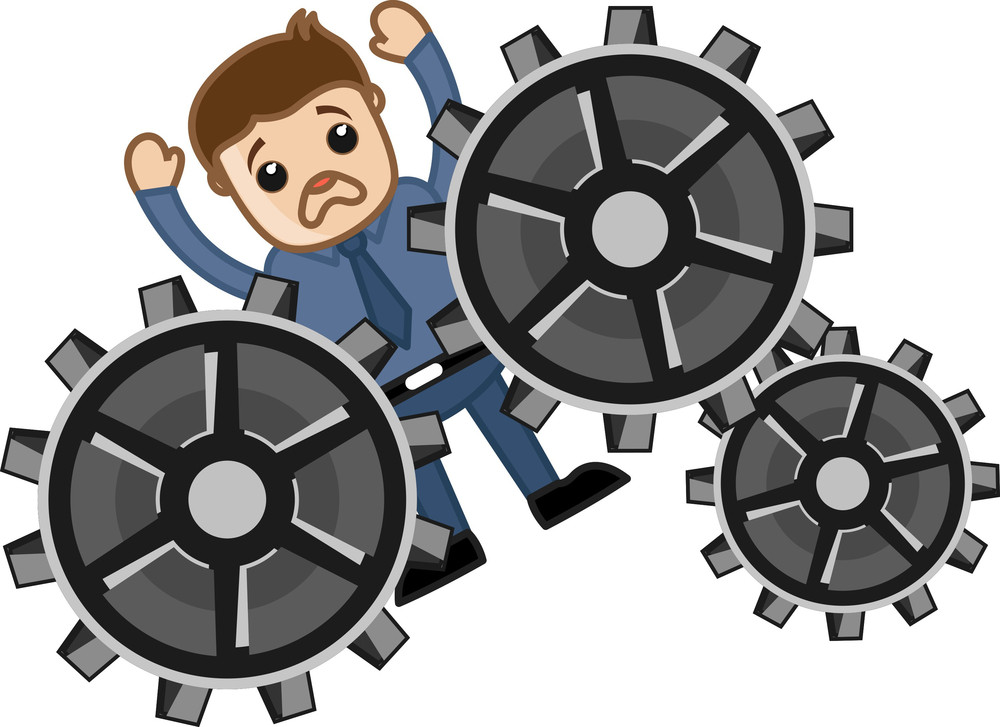 Man Stucked In Gears - Process Project - Vector Character Cartoon Illustration